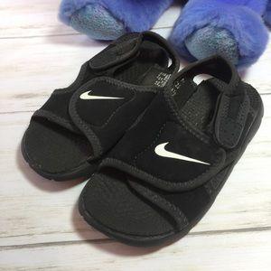 Nike Black White Sandals  10